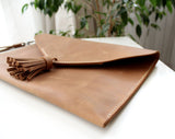 Leather clutch bags Ligth Brown - Anger Refuge