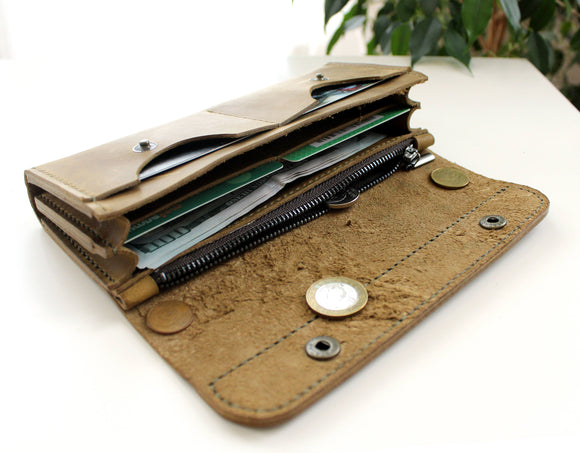 Large women's wallet Light Olive - Anger Refuge