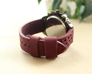 Watch strap Purple perforated - Anger Refuge
