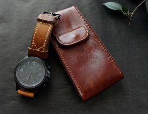 Travel watch pouch Cognac Brown - Anger Refuge