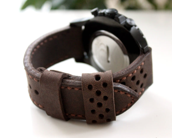 Watch strap Coffee perforated - Anger Refuge