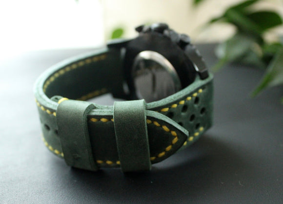 Watch strap Green perforated - Anger Refuge