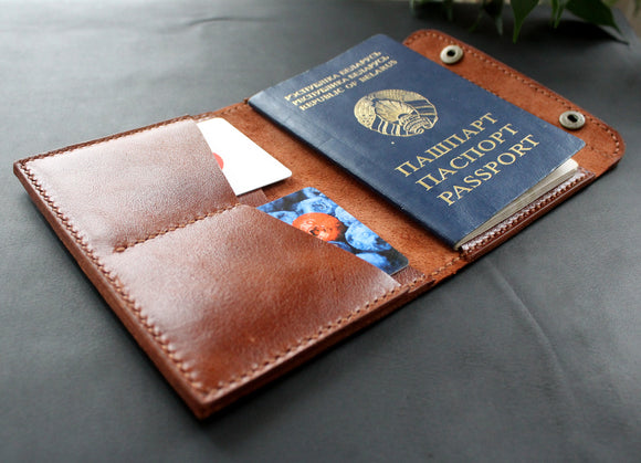 Passport wallet holder Cognac Brown - Anger Refuge
