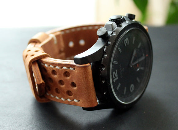 Watch strap Light Brown perforated - Anger Refuge