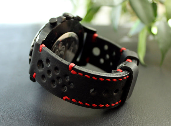 Watch strap Black Red perforated - Anger Refuge