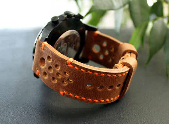 Watch strap Brown perforated - Anger Refuge
