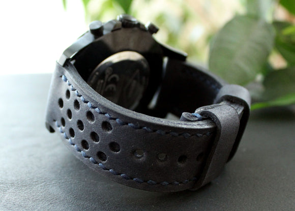 Watch strap Dark Blue perforated - Anger Refuge