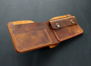 Handmade bifold wallet Rust brown - Anger Refuge