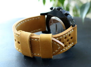 Watch strap Yellow perforated - Anger Refuge