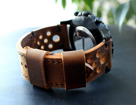 Watch strap Rust Black perforated - Anger Refuge