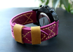 Watch band Fuchsia Pink Yellow - Anger Refuge