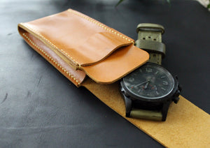 Travel watch pouch genuine leather - Anger Refuge