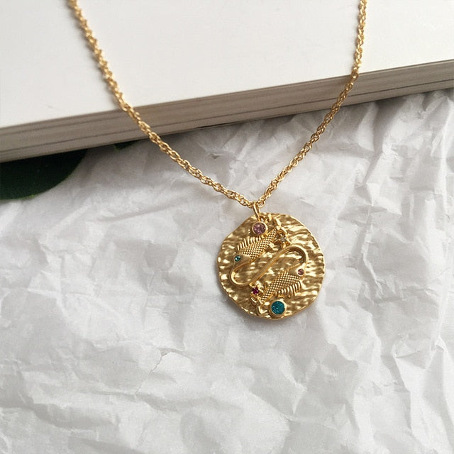 Gold Zodiac Constellation Necklace for Women
