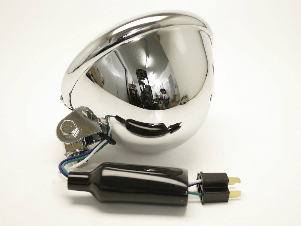 "Headlight, 5.75"" Bottom Mount, Chrome, Model A"