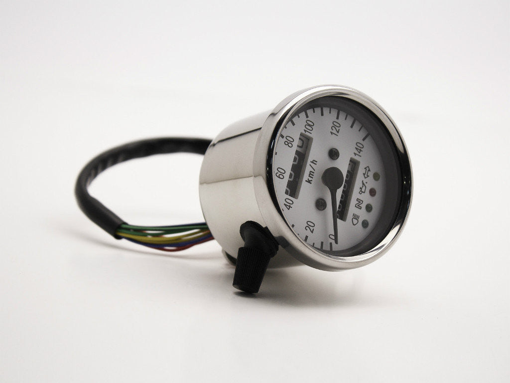 Speedo, 60mm, with Warning Lights, White Face, Polished Body