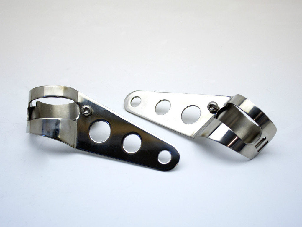 Headlight Brackets, Cafe Racer Style, Stainless Steel