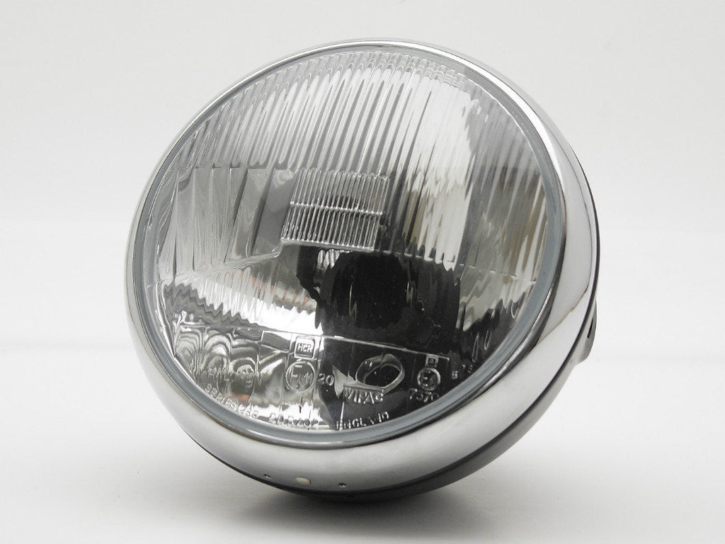 "Headlight, 7"" Black & Chrome, Vintage"