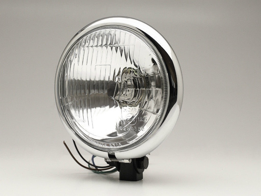 "Headlight, 5.75"" Bottom Mount, Black/Chrome Rim"