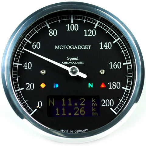 Motogadget Chronoclassic Speedo, Polished Bezel, Dark LCD