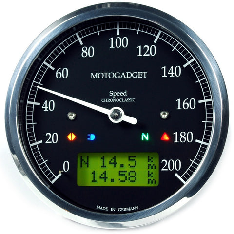 Motogadget Chronoclassic Speedo, Polished Bezel, Green LCD