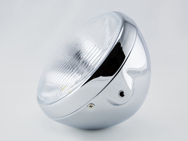 "Headlight, 7"" Chrome, Cafe Racer Style"