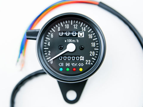 Speedo, 60mm, with Warning Lights, Black, 220KPH