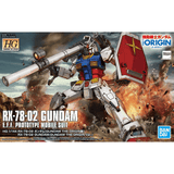 "HG RX-78-02 Gundam ""The Gundam Origin Version"" 1/144, Model # BAN5058929 Cover Art"