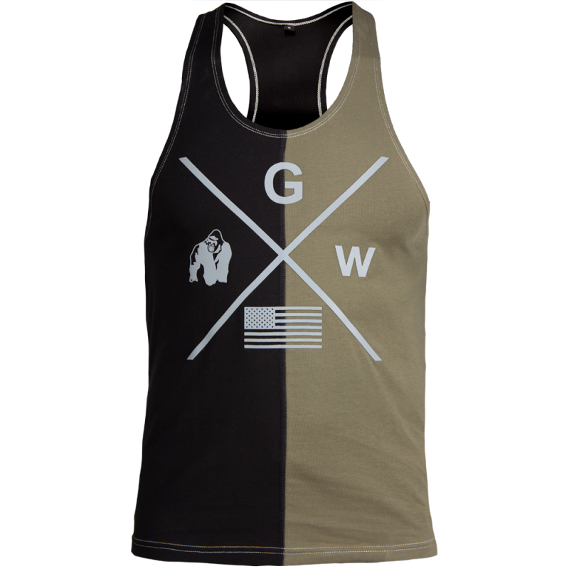 STERLING STRINGER TANK TOP - BLACK/ARMY GREEN