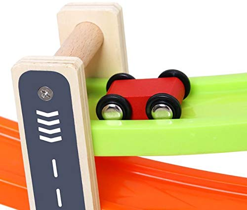 4 Tier Colourful Wooden Rolling Car Glider Track