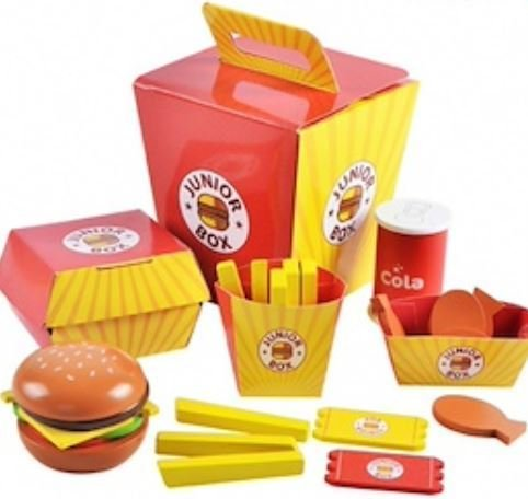 Wooden Burger Meal in a Box