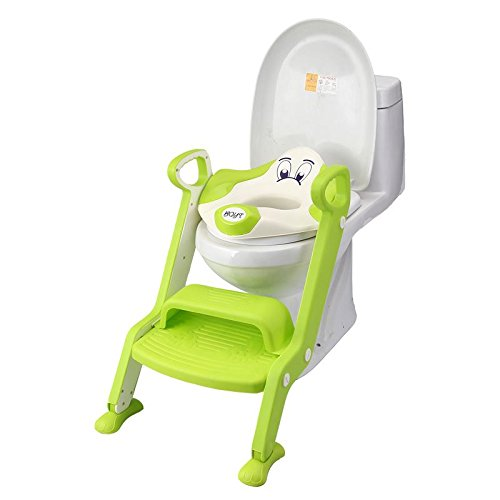 Dog Design Toilet Training Seat with Ladder