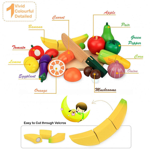 Wooden Cutting Fruit and Vegetables 15 Piece Toy Play Set