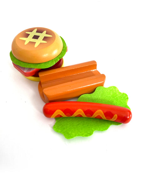 Wooden Burger and Hotdog Meal on a Tray Set