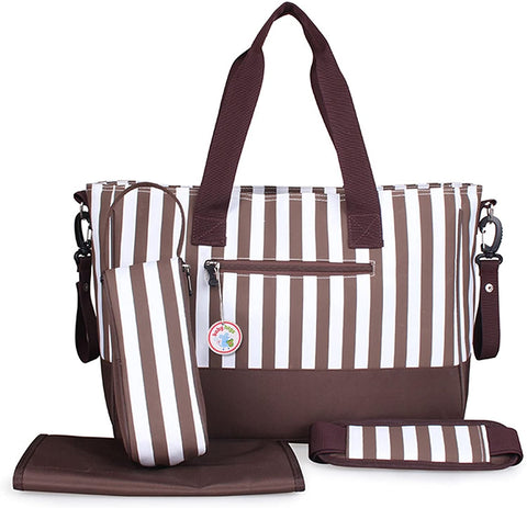 Brown Stripes Nappy Changing Tote Bag