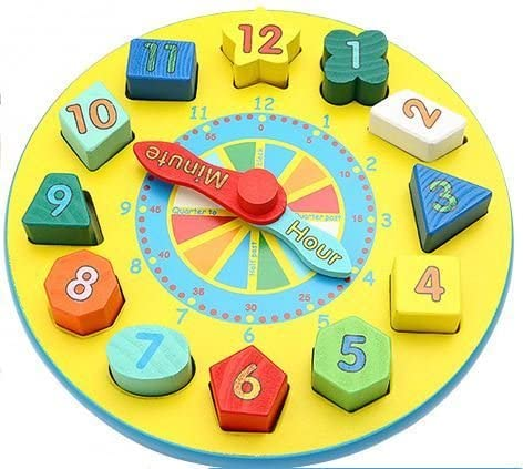 Wooden Teaching Learning Clock with Shape Sorter Blocks