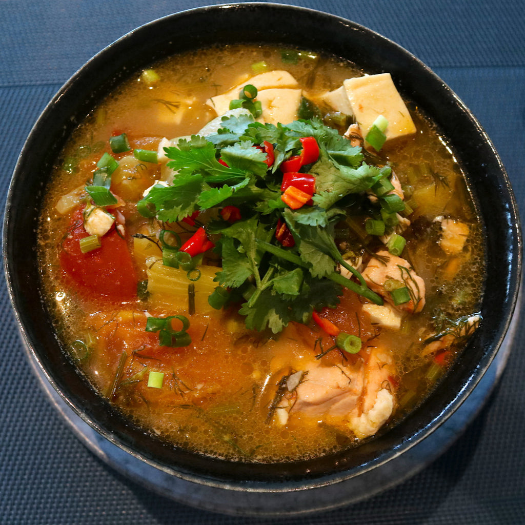 Vietnamese Sweet & Sour Soup with Salmon