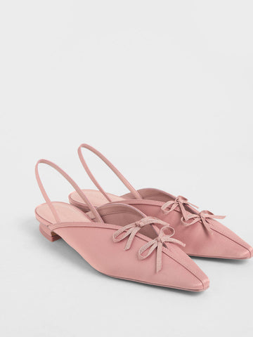 Satin Double Bow Slingback Flats, Charles & Keith | 43USD