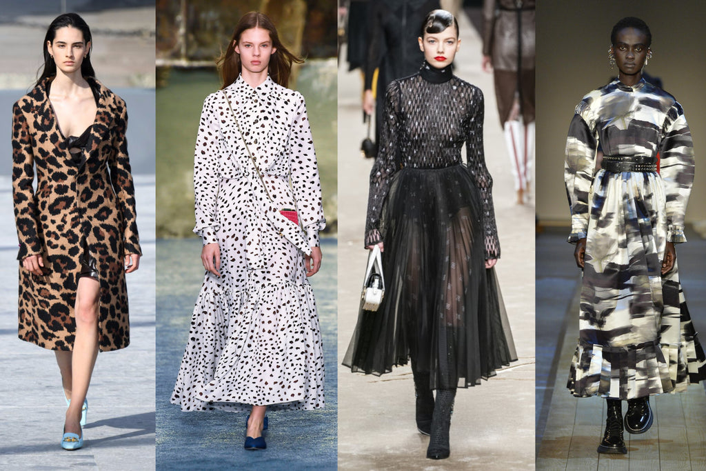 Left to right: Bottega Veneta Autumn Winter 2019 by Getty Images, Carolina Herrera Fall/Winter 2019 by WWD/REX/Shutterstock, Fendi Autumn/Winter 2019 by Imaxtree / Daniele Oberrauch,  Marni Autumn/Winter 2019 by Imaxtree