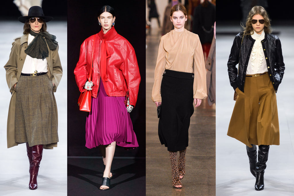 Left to right: Celine Autumn Winter 2019 by Montag/ Gorunway.com, Balenciaga Autumn Winter 2019 byAlessandro Lucioni/ Gorunway.com, Victoria Beckham Autumn Winter 2019 by Filippo Fior / Gorunway.com, Celine Autumn Winter 2019 by Montag/ Gorunway.com