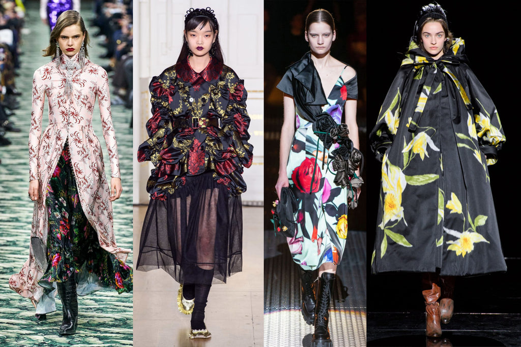 Left to right: Paco Rabanne Autumn/Winter 2019 by Alessandro Lucioni / Gorunway.com, Simone Rocha Autumn/Winter 2019 by Armando Grillo / Gorunway.com, Prada Autumn/Winter 2019 by Alessandro Lucioni / Gorunway.com, Marc Jacobs Autumn/Winter 2019 by Filippo Fior / Gorunway.com