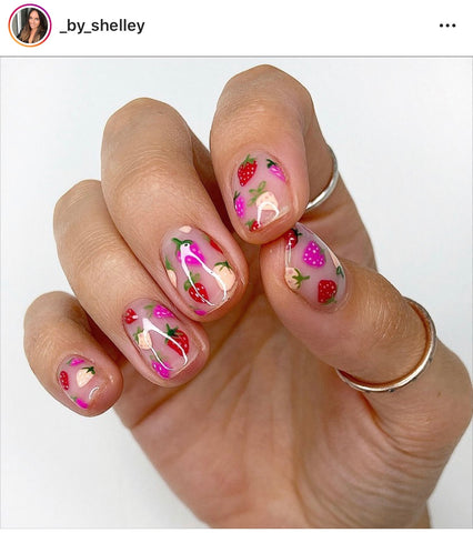 Strawberry nails by by @_by_shelley (IG)