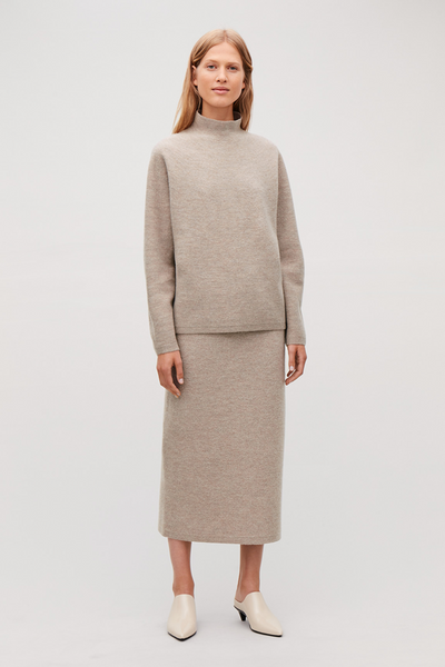 COS BOILED WOOL SWEATER & SKIRT