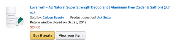 LOVEFRESH Natural Deodorant on Amazon (click to shop)