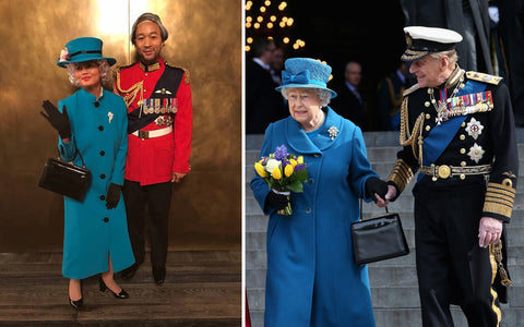 (Left) Instagram @johnlegend (Right) The Queen and Prince Philip