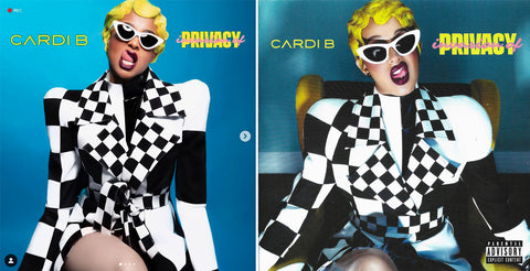 (Left) Instagram @ciara (Right) Cardi B's Invasion of Privacy Album Artwork