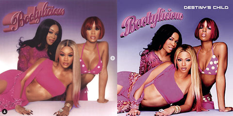 "(Left) Instagram @saweetie (Right) Destiny's Child's ""Bootylicious"" Cover Art"