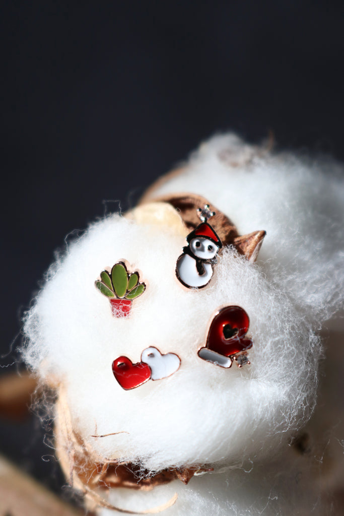 Snowman Set Christmas Earrings (4 Pieces)