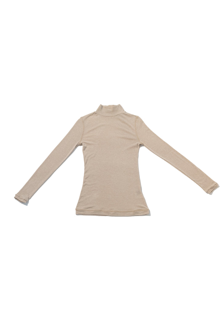Beige Mock Neck Thin Knit Buckle-Up Top