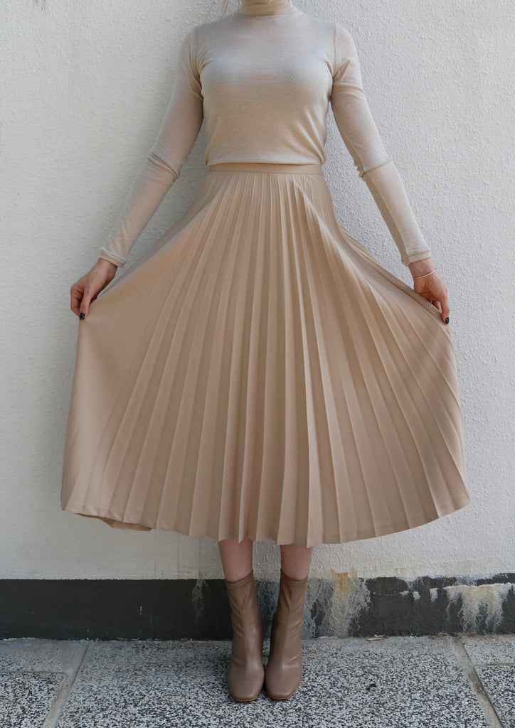 Beige Pleated Skirt