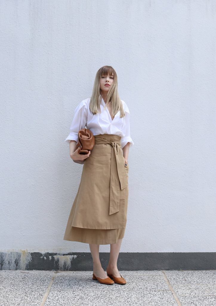 Camel Tie Up Layered Skirt